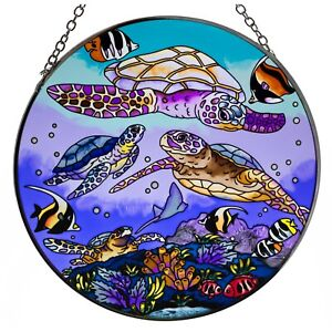 Turtle Dive Sea Turtles Suncatcher Hand Painted Glass By AMIA Studios 6.5 New $27.99