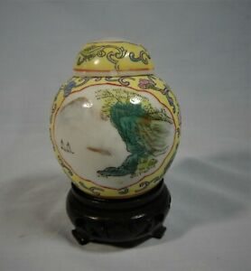 Vintage hand painted porcelain ginger jar on wood stand circa 1950s retire