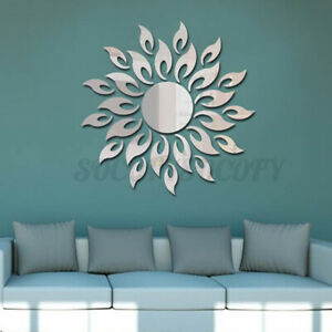 4PCS 3D Mirror Sun Flower Totem Removable Wall Sticker Decal Home Room Decor DIY