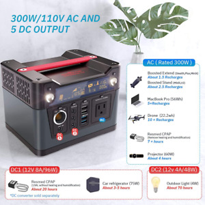300W Portable Power Supply Station Backup Battery Pack Flashlight Camping Solar