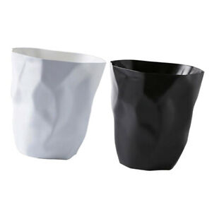 2pcs Unique Wrinkle Waste Bin Office Garbage Basket Trash Can Dustbin Container