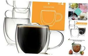 Coffee or Tea Glasses Set of 4-8oz Double Wall Thermal Insulated Cups with Handl