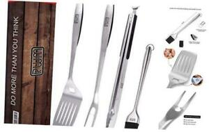 Rwm BBQ Grill Tool Set - Heavy Duty Extra Thick Stainless Steel Grill Utensil Se