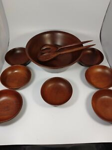 Vintage Solid Walnut Wooden 10 Piece Salad Bowl Set No Makers Mark