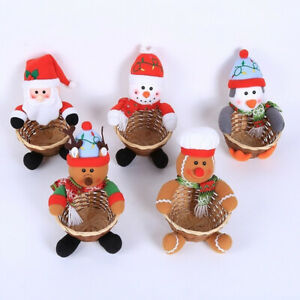 Merry Christmas Santa Claus Cookies Bag Xmas Ornament Storage Box Candy Basket