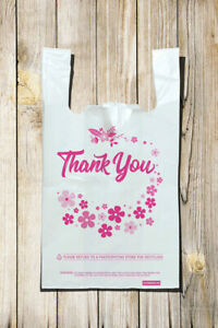 Shopping Bag 12quot; x 7quot; x 23quot;Recyclable Plastic quot;Thank Youquot; Shopping Bags 0.70 Mil