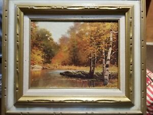 Autumn by Robert Wood Vintage Lithograph Print of Oil Painting Framed 14x11 $35.00