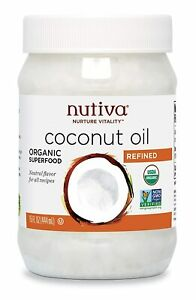 15oz Nutiva Organic Coconut Oil Refined For Cooking, Hair & Skin, Virgin,Non-GMO