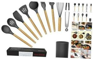 WACOOL 10 Piece Silicone Cooking Kitchen Utensil Set Tools with Wood Handles Tur