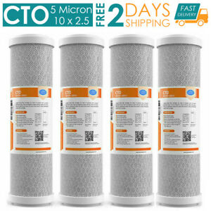 4PA 5 Micron Carbon Block Water Filter Cartridge CTO Whole House RO 10