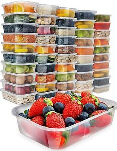 Containers Food Storage Lids Clear Plastic Meal Prep Freezer Microwave Safe 50pk