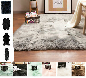 Faux Fur Fluffy Shag Rug Long Pile Washable Non Skid Furry Carpet in Many Sizes