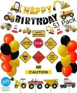 Construction Party Supplies 51 Set Truck Birthday Decoration Boy Baby Shower Kit