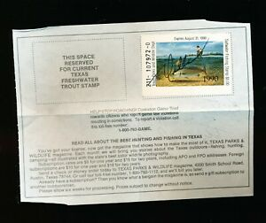 TEXAS 1990 FISHING STAMP - ON LICENSE