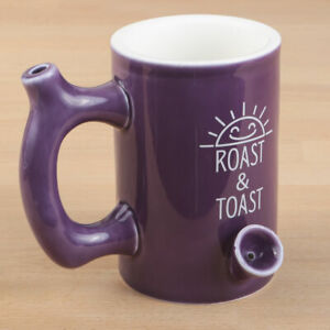 Premium Roast and Toast Stoner Large Coffee Mug with Pipe for Smoking Purple