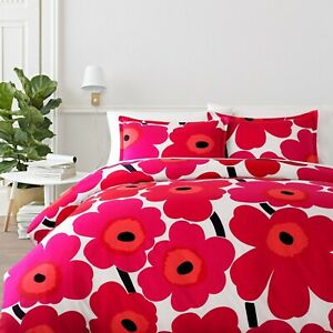 MARIMEKKO Unikko  3 PC COMFORTER SET FULL QUEEN Pink Red Floral