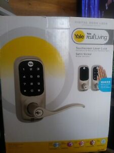 Yale YRL220NR619 Touchscreen Lever Lock real living wakes w touch satin nickle