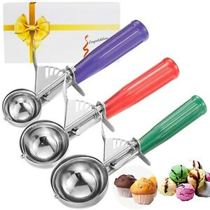 Cookie Scoop Set, 3 PCS Ice Cream Scoops Trigger Include Large Medium Small Size