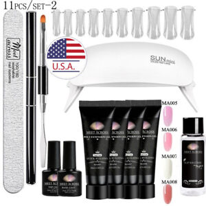 MEET ACROSS Poly Nail Extension Gel Kits W 6W USB LED Lamp French Nail Art Tips $20.99