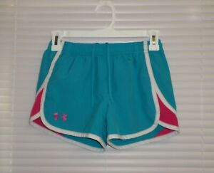 UNDER ARMOUR Heat Gear LOOSE Fit Girls Shorts YMD AQUA with PINK $7.00
