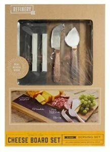 Refinery Wood And Slate Cheese Board Set 5 Piece Serving Set