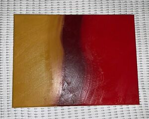 painting of vague forest path on canvas using yellow, brown, and red paint