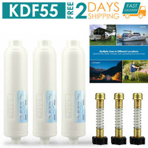 3 PA KDF INLINE RV Water Filter Camper Trailer Purifying System Reduce Chlorine