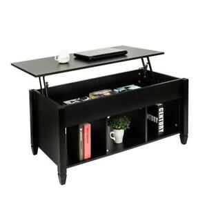 Lift Top Coffee Table Hidden Compartment Storage Shelves Modern Furniture Living $113.90