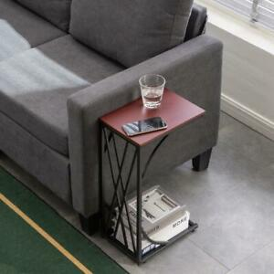 Coffee Tray Side Sofa Table Room Console Stand End TV Lap Snack Modern C-shaped