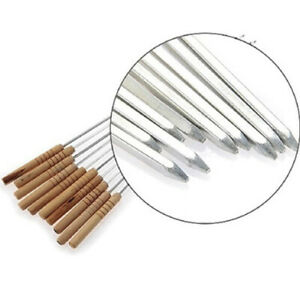 Stainless Steel BBQ Skewers With Wooden Handles Reusable, easy clean, 12 Pack