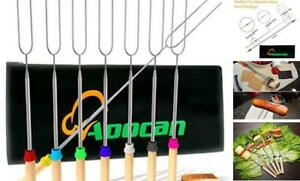 Aoocan marshmallow roasting sticks Telescoping Rotating Smores Skewers Hot Dog -
