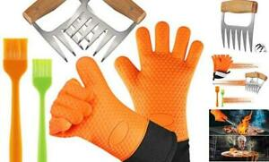YUWLDD BBQ Gloves Plus Meat Shredder Claws and Silicone Brush- Grill Accessories