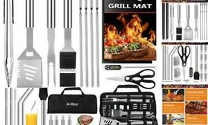 grilljoy 31PC Heavy Duty BBQ Grilling Accessories Grill Tools Set - Stainless St