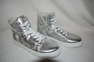 Womens Shoes SHINY METALLIC SILVER HIGH TOPS Lace Up Fashion Sneakers 6 7 8 9 10 $28.99