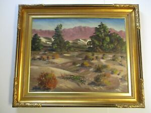 LARGE CARL BRAY OIL PAINTING INDIAN WELLS DESERT CALIFORNIA LANDSCAPE ANTIQUE $1,170.00