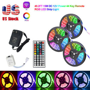 32ft 49ft RGB Flexible 600 LED Strip Light 3528 SMD Fairy Lights Room TV Party