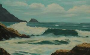 Original Oil on Canvas of Rocky Seascape Signed amp; Attributed to Vera Winzen $199.00