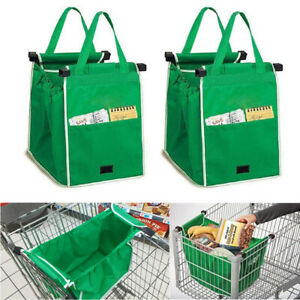 2x Foldable Eco Reusable Grocery Shopping Bag Grab Supermarket Tote Clip to Cart