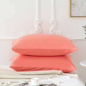20*40#x27;#x27; Zipper Pillowcase Pillow Case Cover Protector Soft Pair King Size Coral