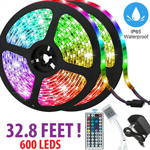 32FT Flexible 3528 RGB LED SMD Strip Light Remote Fairy Lights Room TV Party Bar $17.95