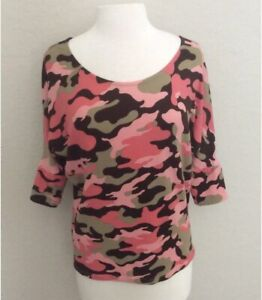 AND THE WHY PINK CAMOUFLAGE TOP SIZE MEDIUM NWT