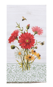 FLORAL BUZZ Kitchen Towel - Dual Purpose Flat Weave Front and Terry Cloth Back