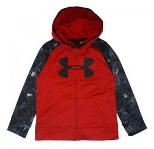 Under Armour Boys Red Printed Sleeve Zip Up Logo Hoodie Size 5 $12.99