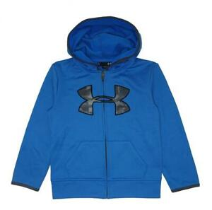 Under Armour Boys Blue & Gray Big Logo Zip Up Hoodie Size 5 $12.99