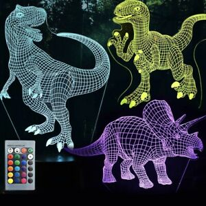 3D Dinosaur Night Light with Remote amp; Smart Touch
