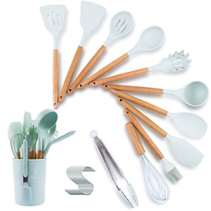 13 PCS Kitchen Cooking Utensils Set holder Silicone Cooking Spoon Wooden Handle