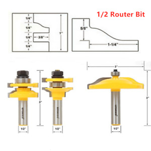 3Pcs Router Bit Raised Panel Cabinet Door Cutter 1/2