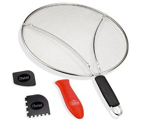 Chefast Splatter Screen Set 13-Inch Stainless Steel Grease Guard For Frying Pans