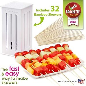 Barbecue Easy Kebab Maker 16-holes Meat Grill 32 Bamboo Skewers Machine BBQ Set