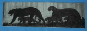Antique Paul Jouve Lithograph of a Group of Panthers $249.00